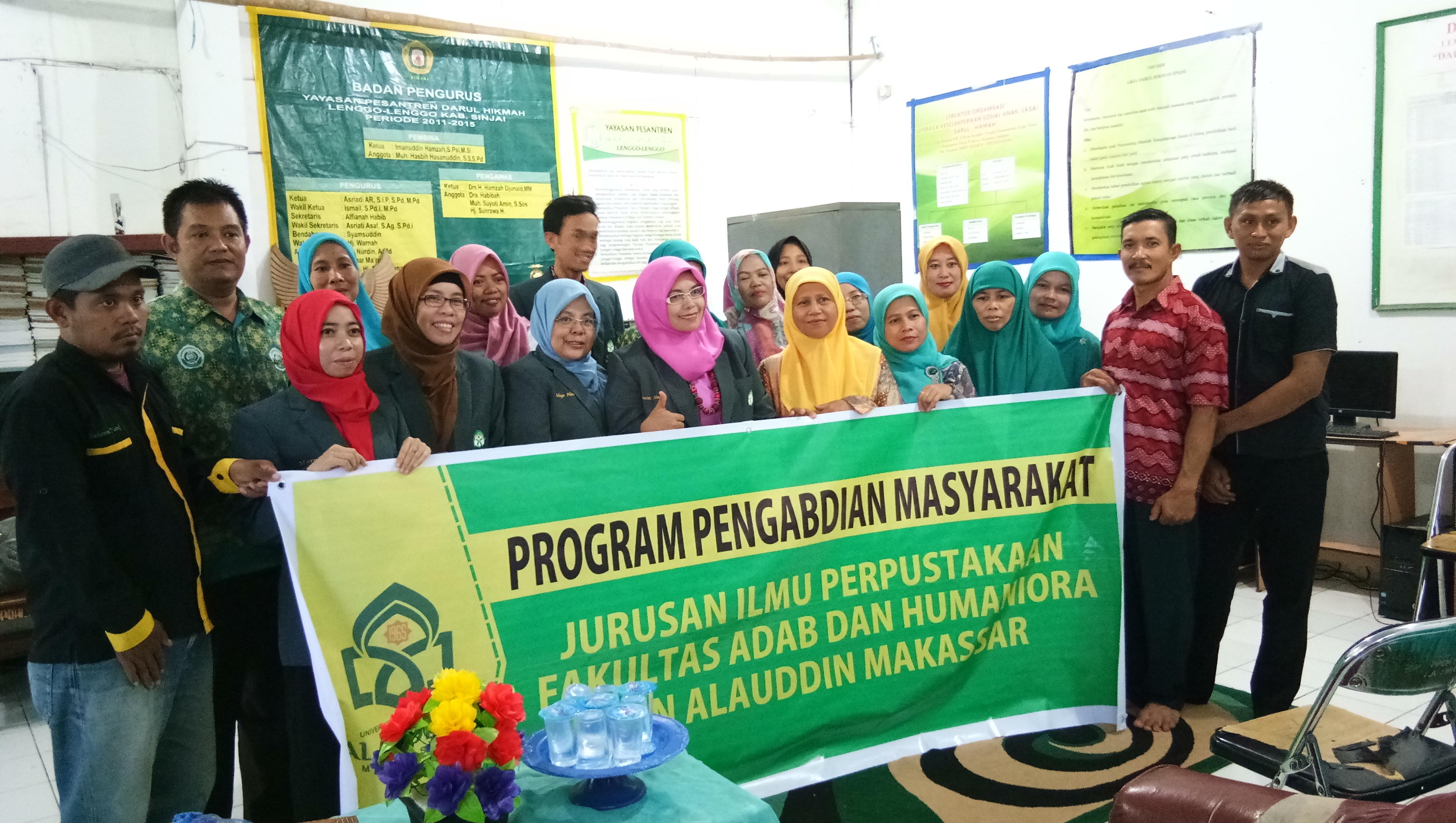 Kegiatan Pengabdian Masyarakat JIP FAH UINAM DI Perpustakaan Yayasan Pesantren Darul Hikmah Kec. Sin